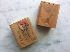 2 ANTIQUE WOODEN BOXES DOVETAIL WOOD BOX 1890s A. DREDGE PEN CO NY BOSTON STAMP