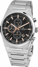 Jacques Lemans Men's Manchester 43mm Black Dial Stainless Steel Chrono Watch