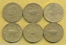 6 DIFFERENT 20 Paise Set 6 Coins,1968, 1969, 1970, 1971, Gandhi, Sun & Lotus