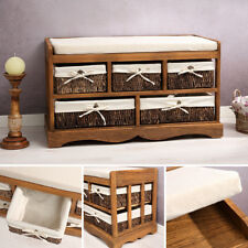 Sitzbank Vintage Kommode Flurbank Truhe Shabby Chic braun Sitzkommode Hocker