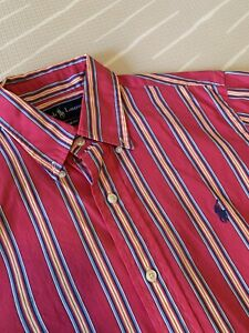 Men's Ralph Lauren Shirt - Pink Blue Orange White Multi-colour, Custom Fit (sml)