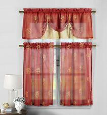 3 Pc Red & Gold Sheer Curtain Set: Fruit Embroidery, 2 Tier,Double Layer Valance