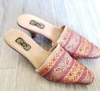Women's Salpy Slip On Hand Made Artisan Wooden High Heels Suede Interior Size 7