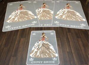 X ROMANY GYPSY WASHABLES GYPSY BRIDE MATS SILVER/GREY NON SLIP MATS  TOURER SIZE