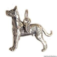 Sterling Silver 3D Marble Great Dane Dog Charm Pendant