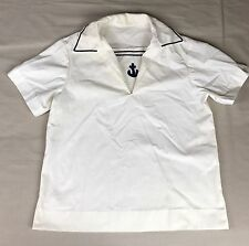 "Vintage Military US Navy Sailor Jumper White Uniform Shirt Short Sleeve 42""Chest"