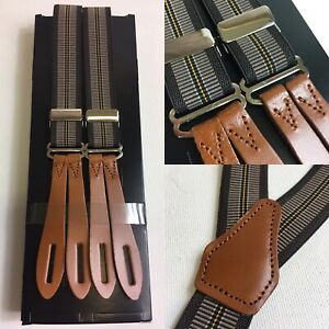 "Vintage 1940s Pattern Button Braces Leather 25mm U.K Made Grey/yellow Stripe 40"""
