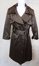 BEBE Long Trench Coat Jacket Sz M Brown Belted Fitted Rain Top Dress