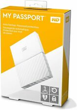 White Western Digital My Passport 4TB External Hard Disk Drive with Box Cable