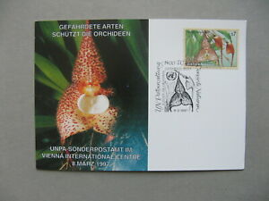 UNITED NATIONS VIENNA, event card CTO 1997, flower Euphorbia