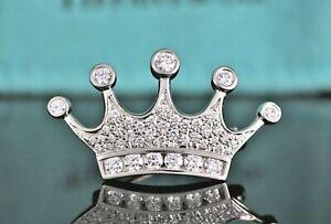 $9800 Tiffany & Co Platinum 1.20ct Pave Set Round Diamond Crown Tiara Pin Brooch