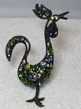 """Large Vintage Japanned Rhinestone """"Rule the Roost"""" Rooster Bird Pin Brooch"""