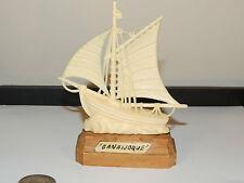 Sailboat named Ganaijoque on wood base (4741)