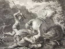 GRAVURE XVIIIe / MORT DE LOUIS & DE CARLOMAN AN 882 & 884