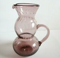 VINTAGE AMETHYST ART GLASS CONTROLLED BUBBLES PITCHER/ EWER
