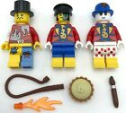 LEGO 3 NEW CIRCUS ACT MINIFIGURES WITH CLOWN CARNIVAL SHOW PIE WHIP MORE