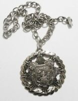 collier pendentif bijou vintage medaillon écusson étoile couleur argent * 3475