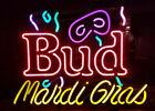 "Budweiser Neon Madri Gras 23"" x 17"" Large Wall Bar Display"