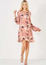 🎀 Ladies Vila Dusky Pink Floral Print Loose Dress UK Size XS (8)