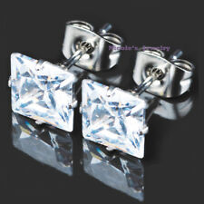 Brilliant  Stainless Steel  Square Cut CZ Cubic Zirconia Studs Earrings E89