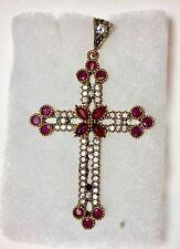 Cross Ruby & White Topaz 925 Middle Eastern Pendant