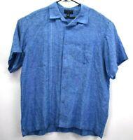 Saddlebred Men's XXL Blue Bowling Style Button Up Short Sleeve Shirt