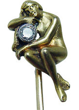 French Antique Art Nouveau Diamond Nude Lady Stick Pin 18K Gold Estate Jewelry