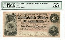 1864   $500      Confederate  Currency  T-64  PMG 55