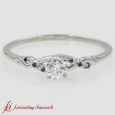 1/2 Carat Round Diamond And Sapphire Gemstone Twisted Engagement Ring For Women
