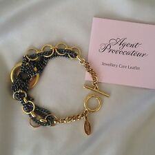 AGENT PROVOCATEUR! gold plated/stainless steel chain bracelet, toggle bar clasp