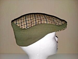 Vintage Mens Houndstooth Pattern Dunn & Co Peaky Blinder Hat Army Green Military