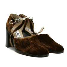 Sam & Libby Women's Shoes Brown Velvet Upper Leather Sole Heeled Mary Janes 5.5