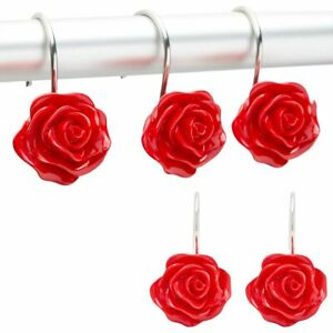 Red Rose Shower Curtain Hooks, Flower Bathroom Decor (Stainless Steel, 12Pack)