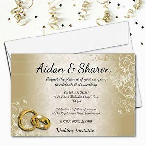 10 Personalised Gold Wedding Invitations / Evening Invites & Envelopes N69
