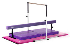NEW Little Gym Deluxe White Horizontal Bar, Purple Beam and Pink/Purple Gym Mats