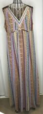 BNWT PER UNA MARKS AND SPENCER beige colourful sequin long maxi dress UK 18 £55