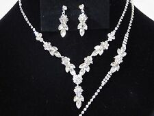Wedding 3PC Silver Flower Rhinestones Set Necklace, Earrings and Bracelet