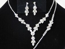 Wedding 3PC Silver Flower Rhinestones Set Necklace, Earrings and Bracelet
