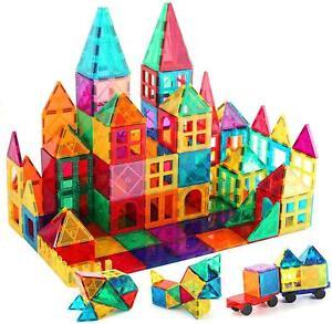 Magna Tiles Clear Colors 3D Set Magnetic Building Toy Magnet Blocks Kids 100 Pcs