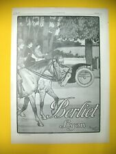 PUBLICITE DE PRESSE BERLIET AUTOMOBILE LYON ILLUSTRATION HARRY ELIOTT 1907