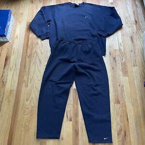 Men's Vintage 90's Nike Crewneck Sweatshirt & Sweatpants Track Suit Set Sz 2XL