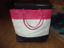 Cynthia Rowley pink white blue leather tote beach travel shoulder bag gym #212
