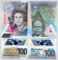 EAST CARIBBEAN 100 DOLLARS 2019 P NEW DESIGN POLYMER QE II UNC