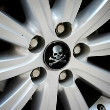 4x 56mm Car Wheel Center Hub Cap Sticker Badge Cover Cross Bone Skull Logo Decal