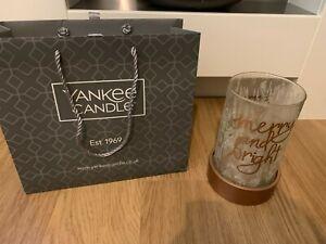 SALE Magical Christmas Yankee Candle Rose Gold Glass Medium Large Jar Holder