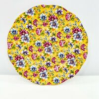James Sadler Plate Sophie Chintz Floral Yellow Purple Pink Scalloped Edge 8 1/8""