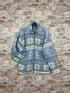 Vintage fleece 90's Navajo geometric trashed multi bold mens jacket coat #221