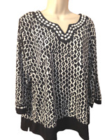 Alfred Dunner Women's Blouse Size XL Petite 3/4 Sleeve V-Neck Beaded Pullover To