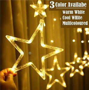 LED Twinkle Star Fairy String Lights Curtain Window Festival Party Weding 8 Mode