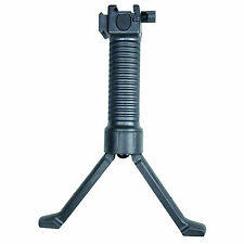 Black Tactical Picatinny Retractable Foregrip Bipod Reinforced Legs & Acc Rail
